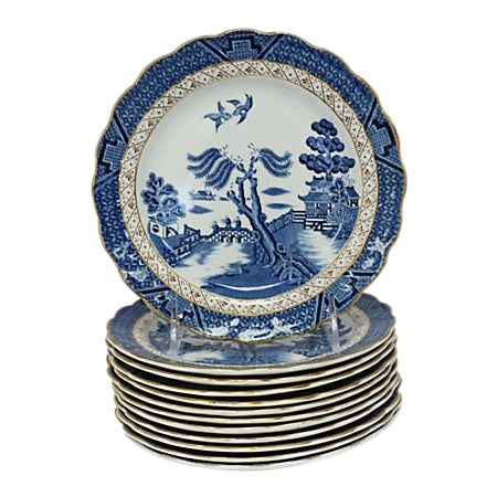 English Willow Salad Plates - Set of 12 For Sale