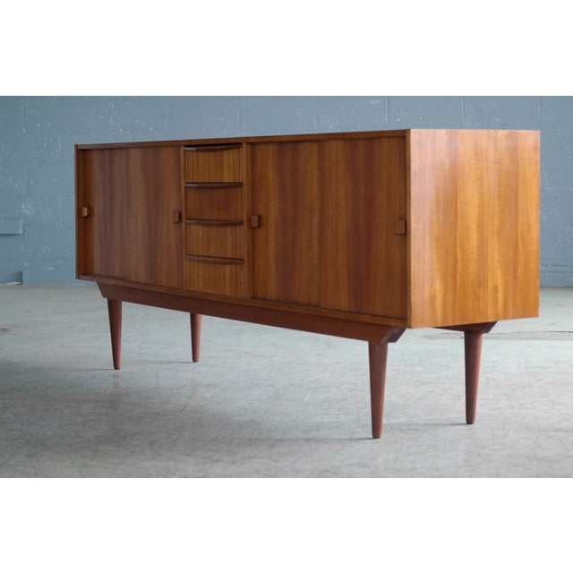 Danish Modern Danish Mid-Century Low Teak Sideboard by Domino Møbler, 1960s For Sale - Image 3 of 11