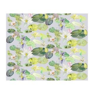 Voutsa Wallpaper - Lotus on Grey Green For Sale