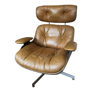 1960s Americana Selig Eames Brown Leather and Walnut Lounge Chair