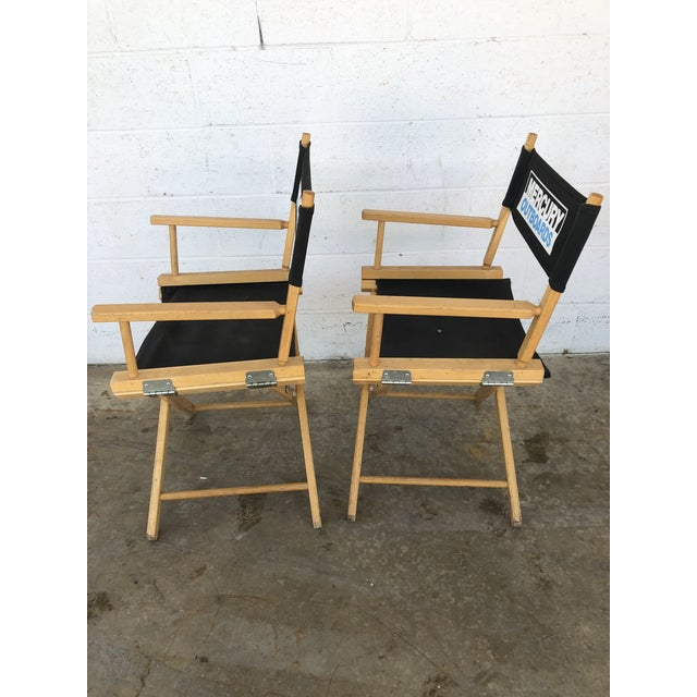 Vintage Wood Folding Director Chairs With Mercury Outboard Advertising - a Pair For Sale - Image 11 of 13