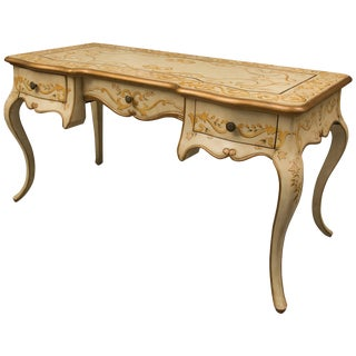 Louis XV Style Cream-Painted and Decorated Writing Table For Sale