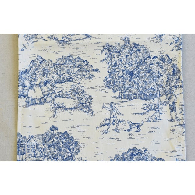 """Early 21st Century Blue & Cream French Farmhouse Country Toile Table Runner 106"""" Long For Sale - Image 5 of 8"""