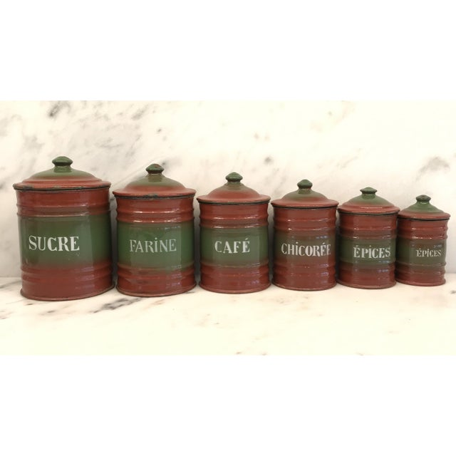 Vintage French Enamel Kitchen Canister Set Red/Green - 6 Pieces For Sale - Image 10 of 10