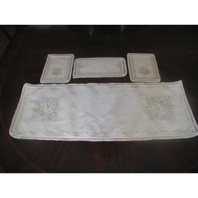 Hand Embroidered Furniture Scarves - Set of 4 - Image 2 of 10