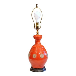 Italian Rimini Raymor Mid-Century Modern Pottery Zaccagnini Red Orange Lamp For Sale