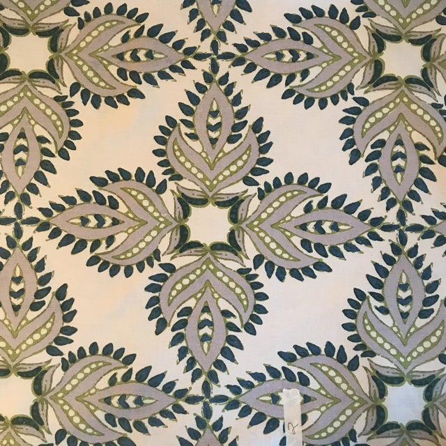 """John Robshaw """"Diba Peacock"""" Cotton Linen Blend Fabric For Sale In Raleigh - Image 6 of 6"""