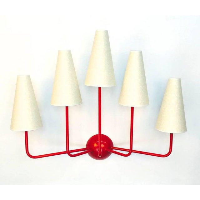 Single-Arm Green Wall Lamp in the Style of Jean Royère For Sale - Image 9 of 12