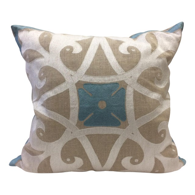 Heathrow Embroidered Linen Pillow Cover - Image 1 of 5