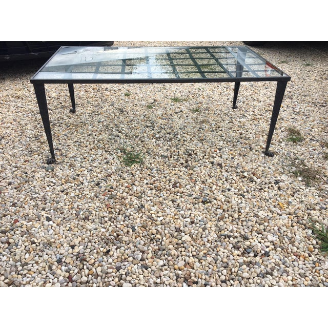 1990's Vintage Custom La Forge Francaise Forged Iron & Glass Coffee Table For Sale - Image 9 of 10