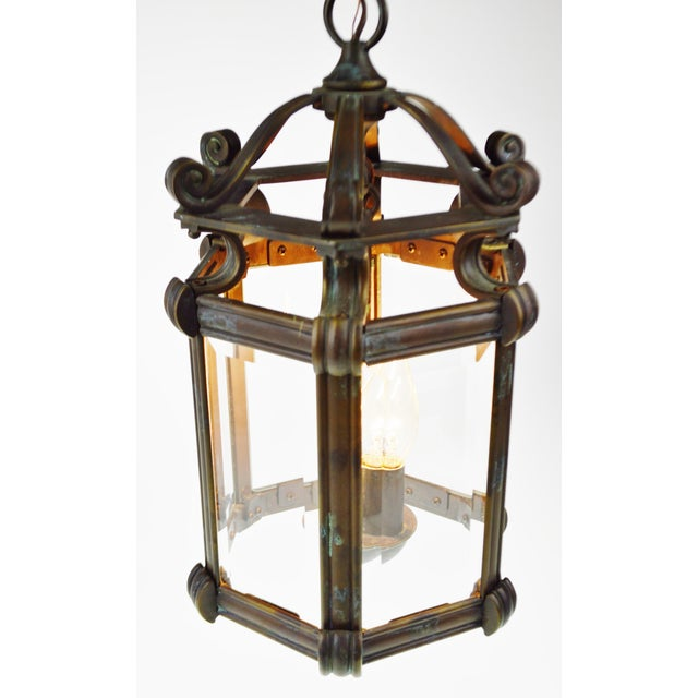 Bronze & Beveled Glass 3 Light Lantern Light Fixture - Image 5 of 11