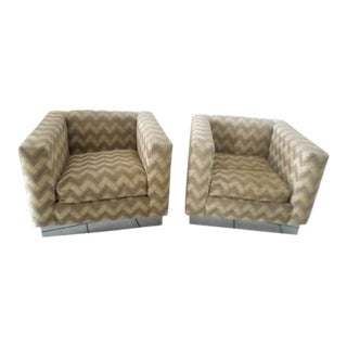 Thayer Coggin Mid-Century Cube Club Armchairs by Milo Baughman - A Pair For Sale