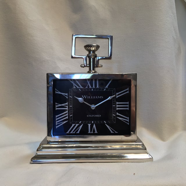 English Traditional Black Rectangular Chrome Mantle Clock For Sale - Image 3 of 6