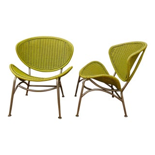 Vintage Maurizio Tempestini for Salterini Wicker and Brushed Aluminum Clamshell Chairs - a Pair For Sale