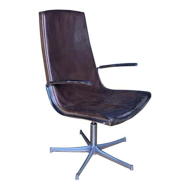 "Fabricius & Kastholm ""Logos"" Leather Swivel Chair, 1970s For Sale"