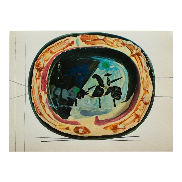 A rare exquisite original period offset lithograph of ceramic plate or charger by Pablo Picasso, depicting Picador and a...