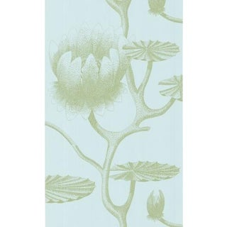 Cole & Son Lily Wallpaper Roll - Sage/Pale Blue For Sale