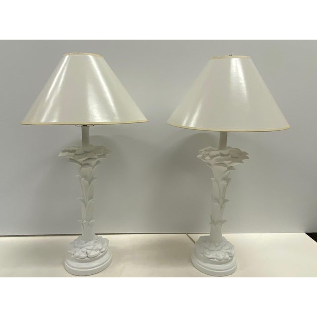 Hollywood Regency Serge Roche Style Palm Motife Table Lamps For Sale - Image 3 of 12