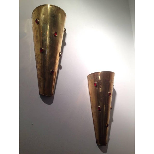 Pair of Brass Wall Sconces with Ruby Red Cabochon Glass For Sale In Miami - Image 6 of 6