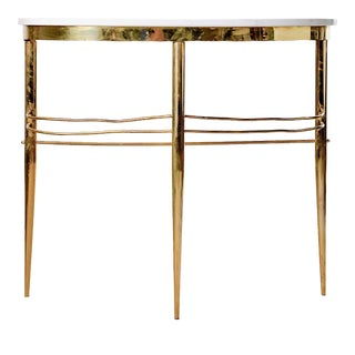 Mid-Century Italian White Marble Top Console With Brass Base For Sale