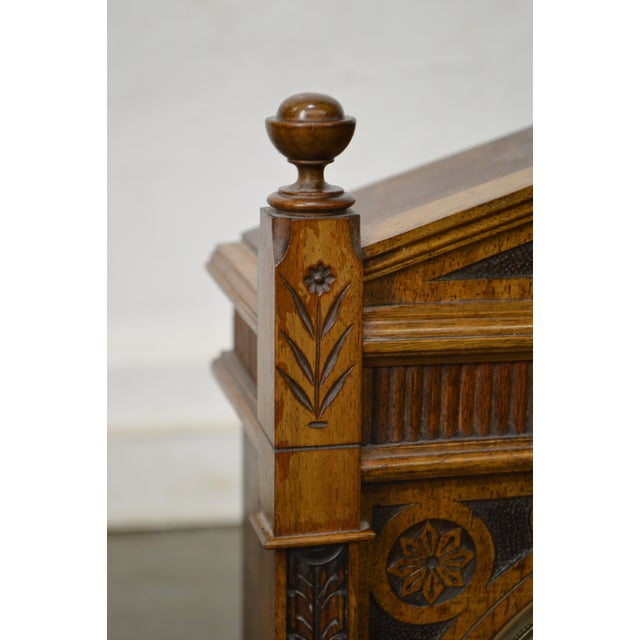 Gold Antique Aesthetic Walnut Mantel Clock attributed to Daniel Pabst For Sale - Image 8 of 13