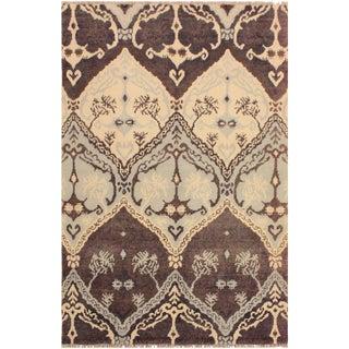 Nabila Modern Meda Brown/Ivory Wool & Viscouse Rug - 4'0 X 6'0 For Sale