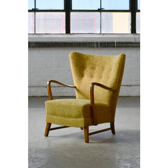 Fritz Hansen Danish 1940s Midcentury Fritz Hansen Style High Back Lounge Chairs - a Pair For Sale - Image 4 of 9