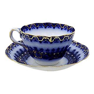 Antique Flow Blue Breakfast Cup & Saucer