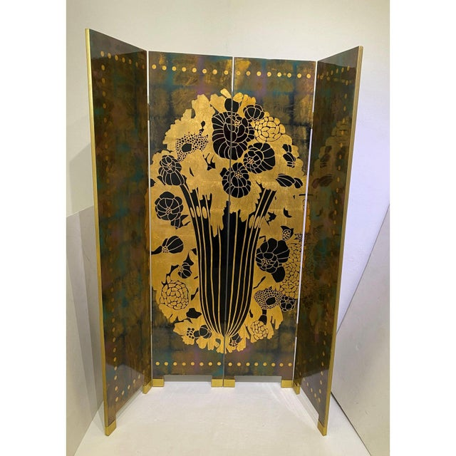 Vintage Art Deco E J Ruhlmann Style 4-Panel Room Divider Screen For Sale - Image 10 of 13
