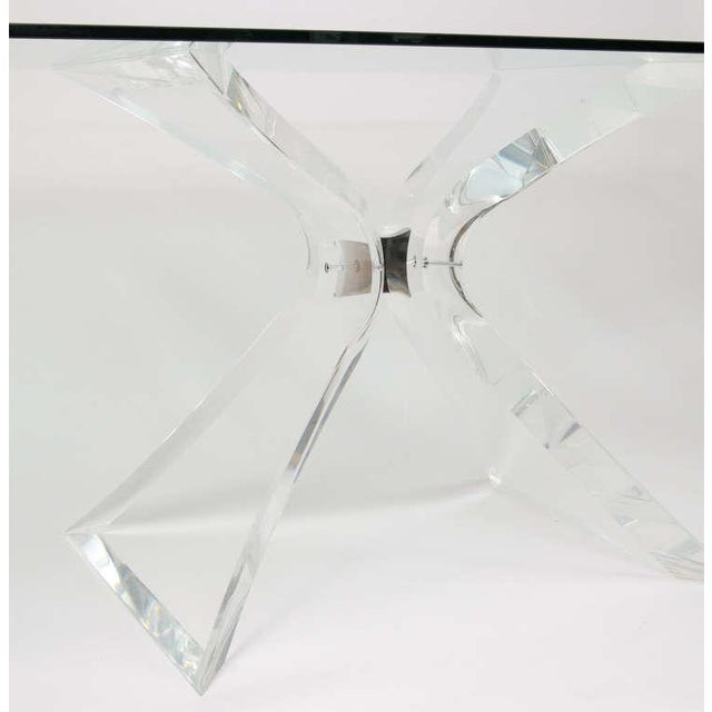 """Lion in Frost """"X"""" Base Lucite Table Base - Image 5 of 10"""