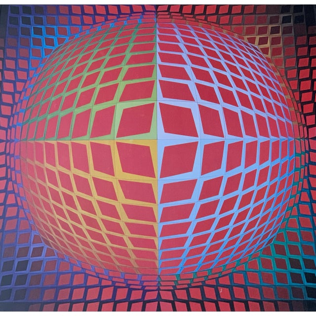 1970s Vintage Victor Vasarely Op Art Lithograph Print Wall Hanging Mid Century Modern For Sale - Image 5 of 6