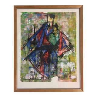 Abstract Leon Collard Original Fashion Sketch Painting For Sale