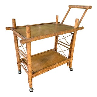 Collapsible Tiger Bamboo Bar Cart For Sale