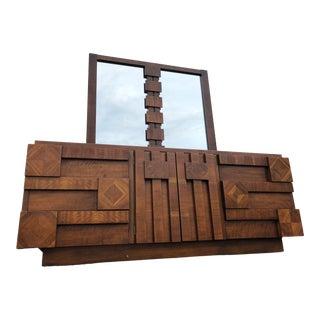 1970's Lane Brutalist Staccato Walnut Dresser With Mirror For Sale