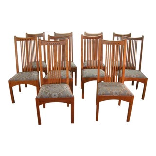 Stickley Mission Arts and Crafts Style Solid Cherry Dining Chairs - Set of 10 For Sale