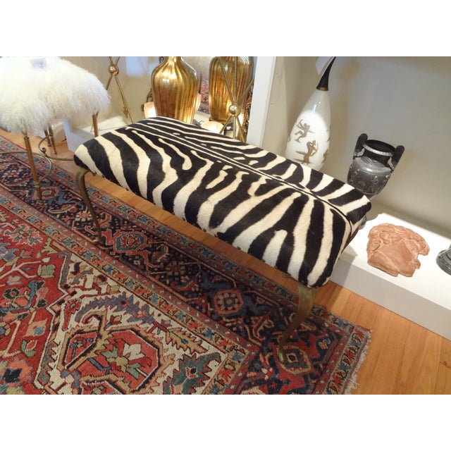 Italian Brass Bench Upholstered in Zebra Hide - Image 7 of 8