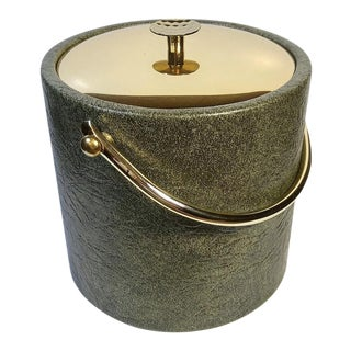 1960s Mid-Century Modern Green & Gold Ice Bucket For Sale