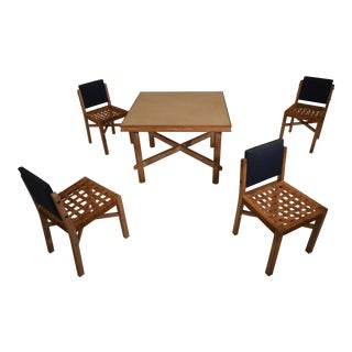 Game Table with 4 Chairs in Cerused Oak by Marcel-Louis Baugniet, 1930s