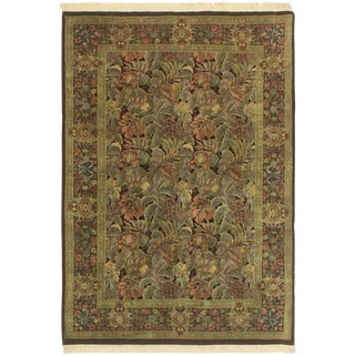 Abusson Pak-Persian Kimberle Black/Green Wool Rug - 4'2 X 6'2 For Sale