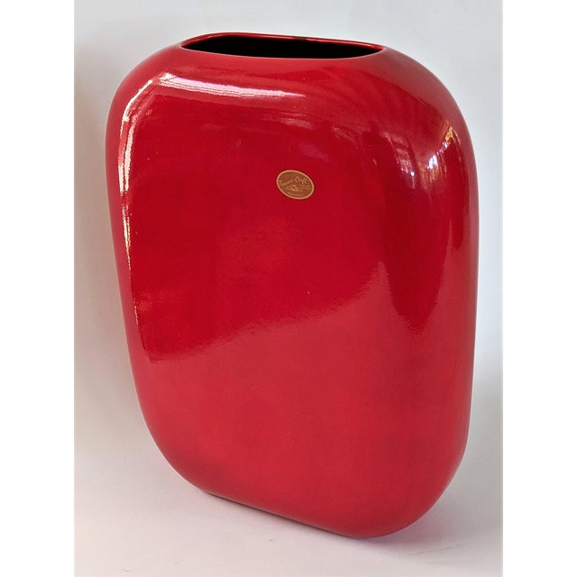 Ceramic Large Mid-Century Modern Fire Engine Red Ceramic Vase For Sale - Image 7 of 12