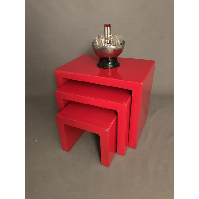 Mid Century Glossy Lacquered Red Waterfall End Tables- 3 Pieces For Sale - Image 10 of 13