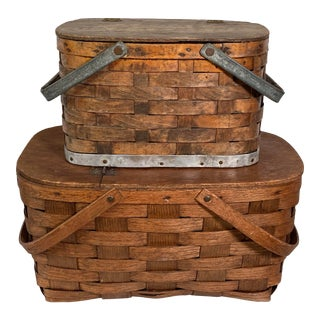 1920s Rustic Wooden Baskets - Stack of 2 For Sale