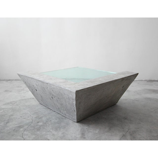 1980s Cantilevered Faux Concrete Plaster and Glass Coffee Table For Sale - Image 5 of 8