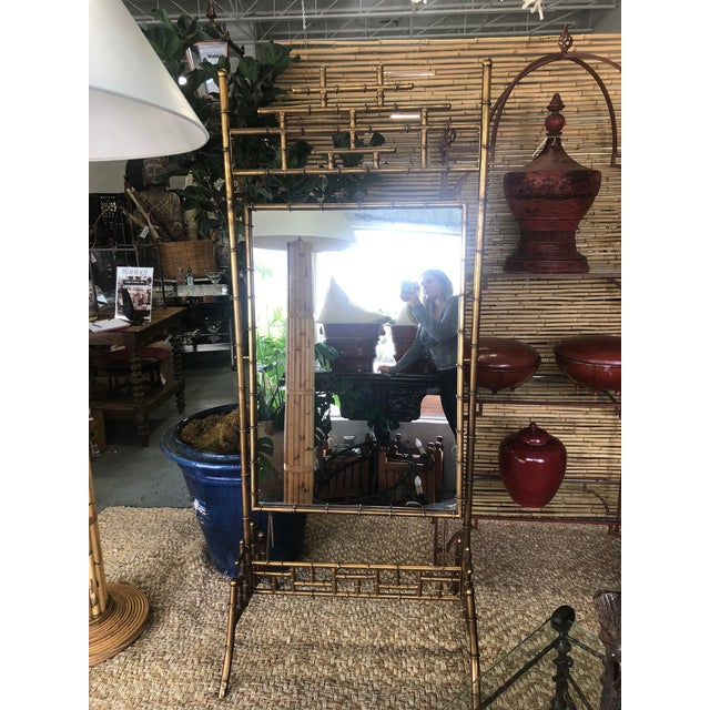 1950s Gold Faux Bamboo Floor Mirror For Sale - Image 5 of 10