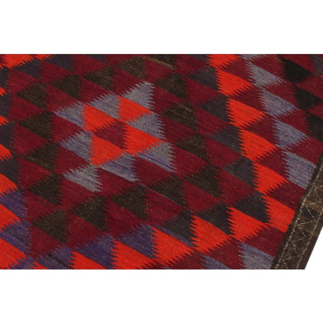 "Textile Antique Turkish Vintage Kilim Jamey Red Orange Hand-Woven Area Rug 3'11"" X 10'4"" For Sale - Image 7 of 10"