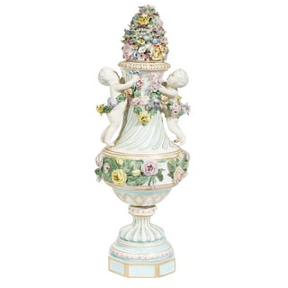 18th Century Traditional Meissen Covered Figural Vase For Sale