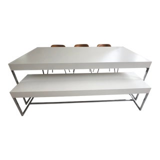 Minimalist B&b Italia Athos White Veneer and Chrome Table and Bench - 2 Pieces For Sale