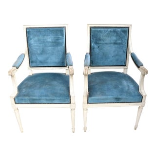 Early 20th Century Louis XVI Style Armchairs, a Pair For Sale