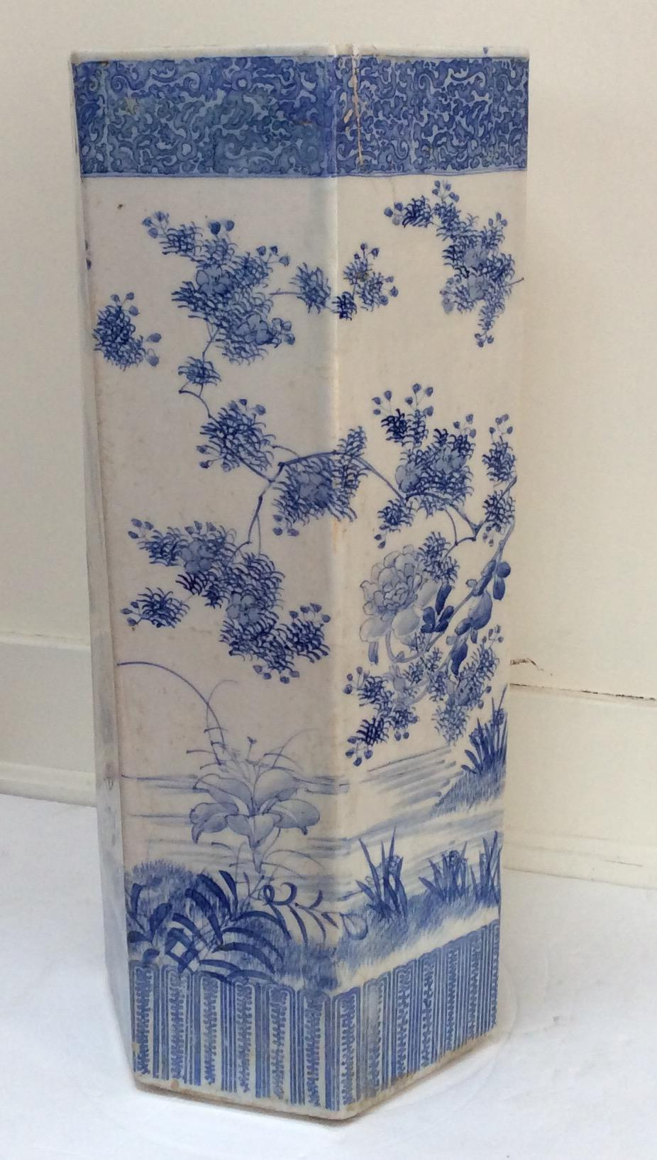 Asian Antique Asian Blue U0026 White Umbrella Stand For Sale   Image 3 ...