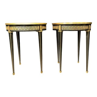 Jansen Style Bouliotte / End Tables Bronze Mounted - a Pair For Sale